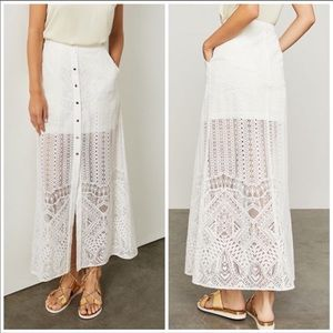HARPER • White Button Down Maxi Skirt